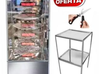 Maquina de assar frango Giratória 120 kg (Assador de carnes e frangos) + Brindes (Mesa com tampo inox e tesoura)