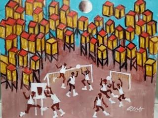 Aécio tema brincadeira das crianças na favela Medida 50x40