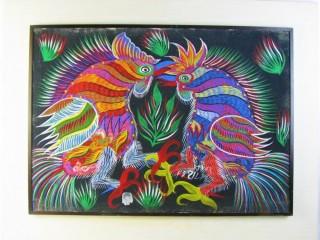 QUADROS – PINTURAS – Chico da Silva (1910 – 1985) Briga de galos, o.s.t. – 44 x 65 (MI) e 57 x 77 cm (ME). Assinado e datado 1977